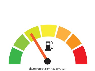Fuel gauge illustration as energy efficiency concept