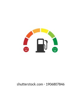 Fuel gauge, fuel indicator, Gasoline indicator, fuel meter icon logo vector concept design isolated on white background