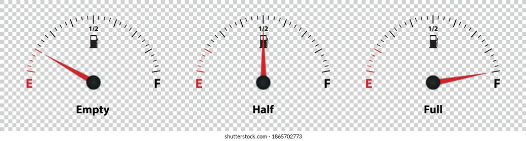Fuel Gauge Meter Empty, Half And Full - Vector Illustration - Isolated On Transparent Background