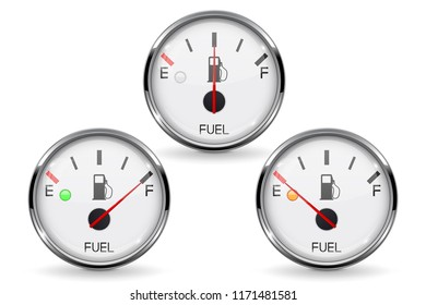Fuel gauge. Set of round white car dashboard 3d devices with chrome frame. Vector illustration isolated on white background