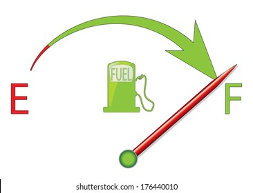 Fuel gauge vector design with arrow and red indicator.
