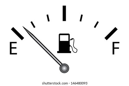 Fuel gauge vector. Isolated vector on white.