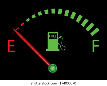 Fuel indicator illustration on black background. Abstract isolated vector design. Fuel gauge indicating nearly empty, raster and more variations available in my portfolio.