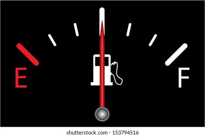 Fuel indicator.illustration on black background. Abstract isolated vector design. Fuel gauge indicating half.