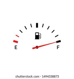 Fuel indicators gas meter. Gauge vector tank full icon. Car dial petrol gasoline dashboard.