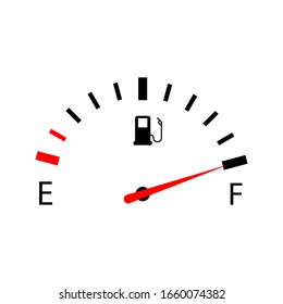 Fuel indicators gas meter. Gauge vector tank full icon on white backgrround. eps 10