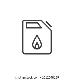 Fuel jerrican line icon, outline vector sign, linear style pictogram isolated on white. Canister drop symbol, logo illustration. Editable stroke