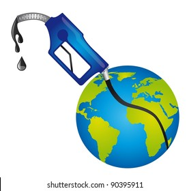 fuel and planet over white background. vector illustration