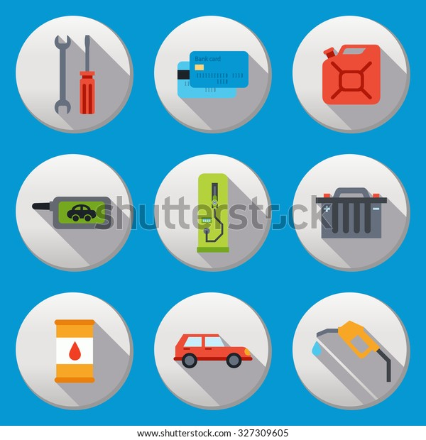 Fuel Pump Gas Station Icons Shadow Stock Vector (Royalty