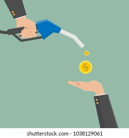 Fuel pump in hand businessman. Petrol station. Holding fuel nozzle. Gasoline pump with oil drop. Vector illustration flat design style,hand recieve money