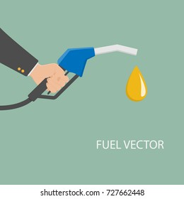 Fuel pump in hand businessman. Petrol station. Holding fuel nozzle. Gasoline pump with oil drop. Vector illustration flat design style
