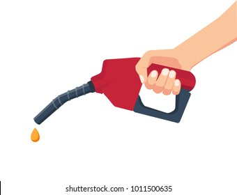 Fuel pump in hand man. Petrol station. Holding fuel nozzle. Vector illustration flat design style.