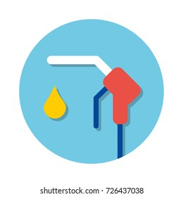 Fuel pump nozzle and drop sign. Gas filling station flat icon.