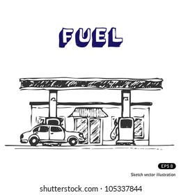Fuel station. Hand drawn sketch illustration isolated on white background