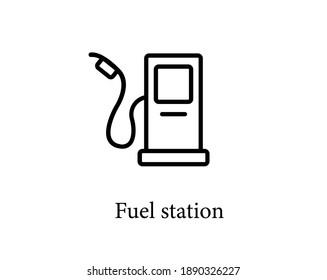 Fuel station vector icon. Editable stroke. Symbol in Line Art Style for Design, Presentation, Website or Apps Elements. Pixel vector graphics - Vector