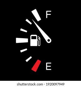 Fuel tank dial gage sign. Transportation petrol level indicator symbol. Vector illustration.