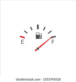 Fuel tank indicator. Full fuel meter, Vector on white background