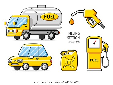 Fuel truck, car, jerrycan, gas pump, nozzle with gasoline drop. Petrol filling station vector icons set isolated.