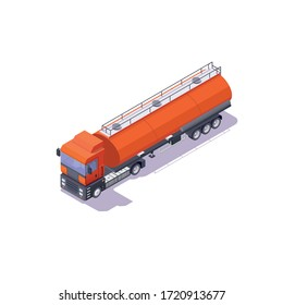 Fuel truck orange on white background, 3d image in isometric