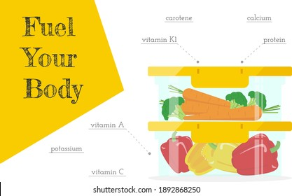 Fuel your body horizontal banner template with fresh vegetables rich in vitamins, carotene, calcium, potassium srored in containers. Healthy and tasty food. Meal prep as the main part of lifestyle.