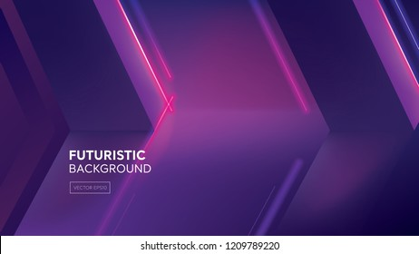 Fufuristic creative design purple backround with neon light effect