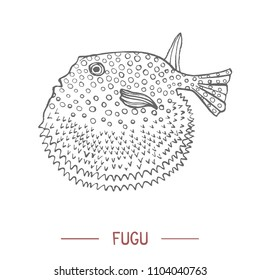 Fugu. Fish in Hand Drawn Style for Surface Design Fliers Prints Cards Banners. Vector Illustration