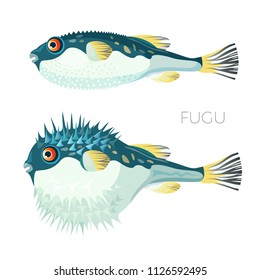 Fugu fish japanese puffer fish vector sketch drawing