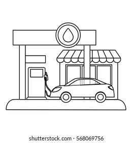 Fugure gas station filling up fuel a car, vector illustration design