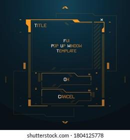 FUI Sci-fi Futuristic Cyberpunk style vector game menu interface template