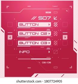 FUI / UI - Sci-fi Cyberpunk style Game Menu interface and buttons template