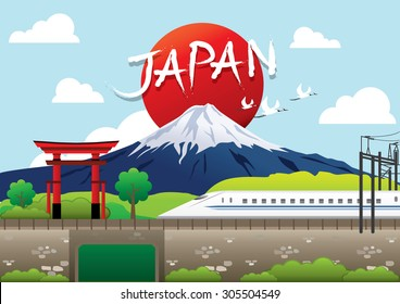 Fuji, Japan Travel destination concept, Travel design templates collection, Info graphic elements for traveling to Japan.