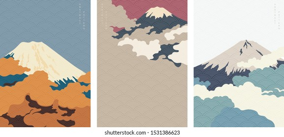Fuji mountain background with Japanese wave pattern vector. Cloud template.