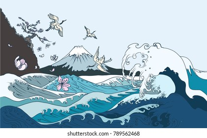 Fuji mountain background.Hand drawn Japanese art Fuji mountain with heron bird and ocean wave.