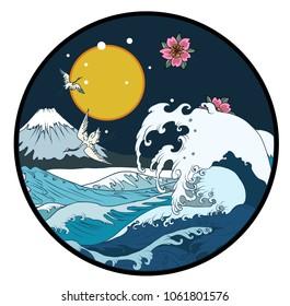 Fuji mountain in circle background.Hand drawn Japanese art Fuji mountain with heron bird and ocean wave.