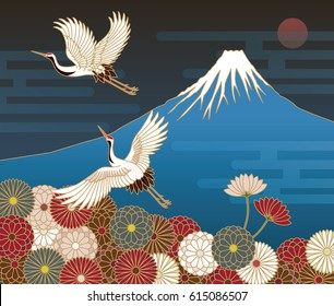 Fuji mountain, Cranes and Chrysanthemum flowers, Japanese traditional pattern