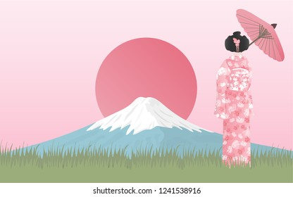 Fuji mountain with Japanese woman in Kimono dress looking at the view. Japanese landmark vector illustration