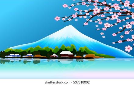 箱根 芦ノ湖 富士山のイラスト素材画像ベクター画像 Shutterstock