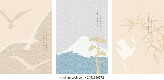 Fuji mountain, martin and crane birds vector with Japanese wave pattern. Asian traditional template background.
