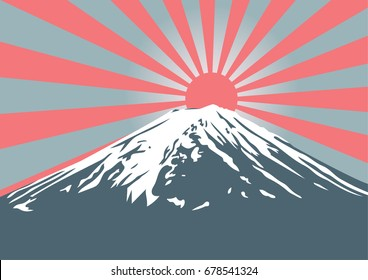 Fuji mountain with sun shine on peak, symbol of Japan and asia traveling for vector design and background