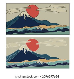 Fuji mountain vector.Japanese mountain wallpaper and red sun.Japanese wave with Fuji Mountain coloring book.