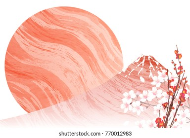 Fuji New Year's cards Japanese paper background