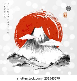Fujiyama mountain in clouds and big red sun on white glowing background. Symbol of Japan. Traditional Japanese style sumi-e. Vector illustration. Sealed with decorative stylized stamps.