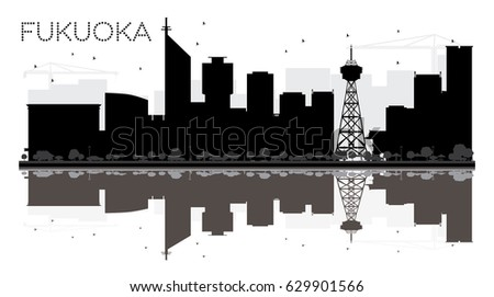 4a509247d40c Fukuoka City skyline black and white silhouette with reflections. Vector  illustration. Simple flat concept