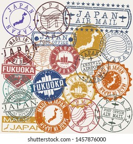 Fukuoka Japan Set of Stamps. Travel Stamp. Made In Product. Design Seals Old Style Insignia.