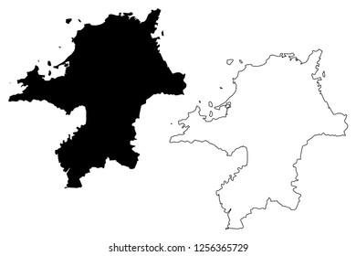 Fukuoka Prefecture (Administrative divisions of Japan, Prefectures of Japan) map vector illustration, scribble sketch Fukuoka map