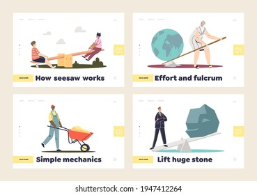 Fulcrum and simple mechanics concept of set of landing pages with seesaws and wheelbarrows. People using old technics for lifting weights. Flat vector illustration