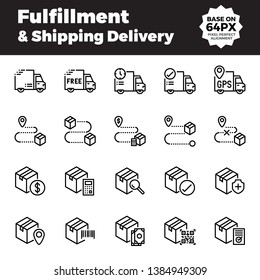 Fulfillment and shipping delivery outline icons. Base on 64px with pixel perfect alignment.