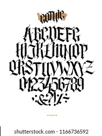 Full alphabet in the Gothic style. Vector. Letters and symbols on a white background. Calligraphy and lettering. Medieval Latin letters. Individual letters. Elegant font for tattoo.