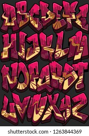 Full A-Z graffiti styled alphabet. Each letter separated with its only layers, fully editable with global swatch palette.