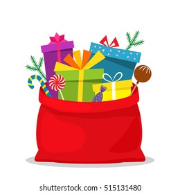 Full bag of gifts from Santa Claus. Christmas decorative element. flat vector illustration isolate on a white background. easy to use